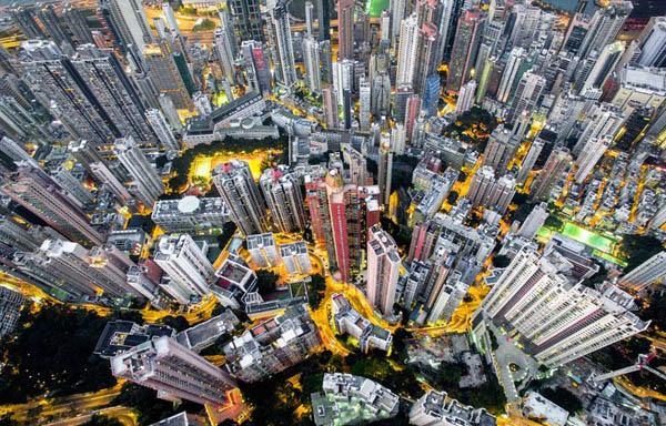 Плотность высотных зданий в Гонконге на фотографиях с дрона