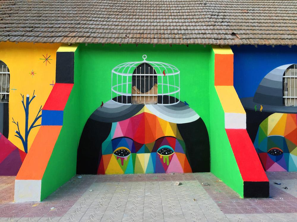 Стрит-арт на заброшенной церкви от Окуда Сан-Мигеля
