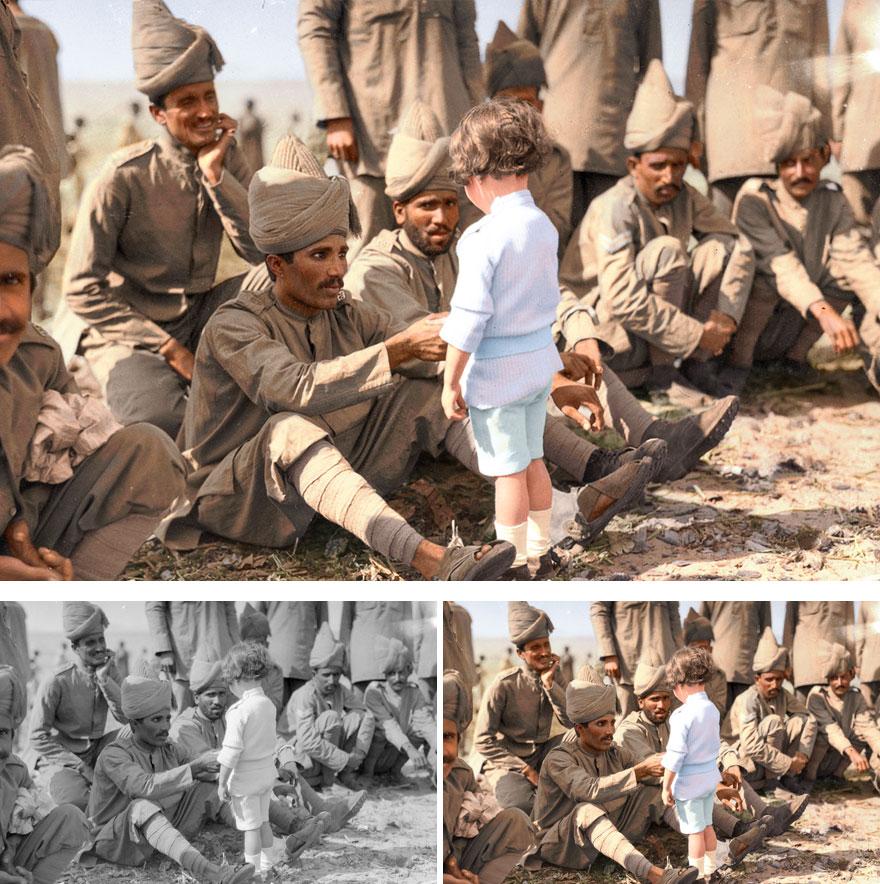 Французский мальчик знакомится с индийскими солдатами