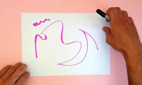 Художник заканчивает чужие каракули, превращая их в рисунки животных