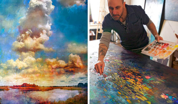 Художник комбинирует фотографии с живописью, размывая границы между фантазией и реальностью