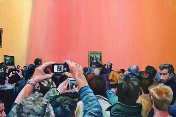 Картины о Лувре, раскрывающие зависимость общества от технологий