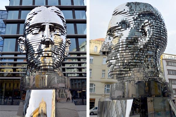 Вращающаяся 42-слойная скульптура головы Франца Кафки