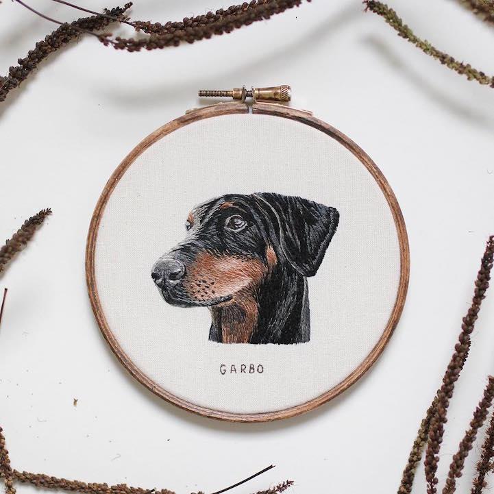 вышивание, портреты животных, Эмили Феррис, Emillie Ferris
