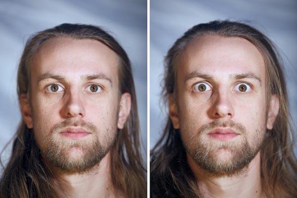 Как могут меняться выражения лиц раздетых перед камерой людей