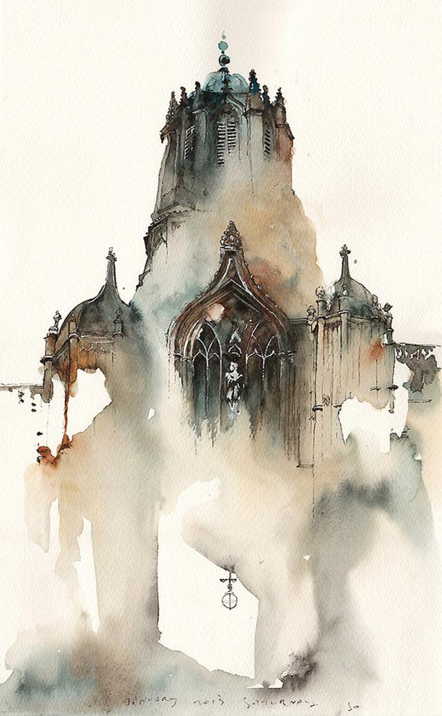 Акварельная живопись, корейская художница, Sunga Park