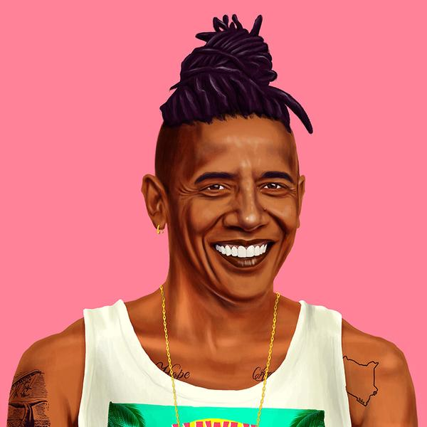 Hipstory, мировые лидеры в иллюстрациях, Амит Шимони, Amit Shimoni, Барак Обама