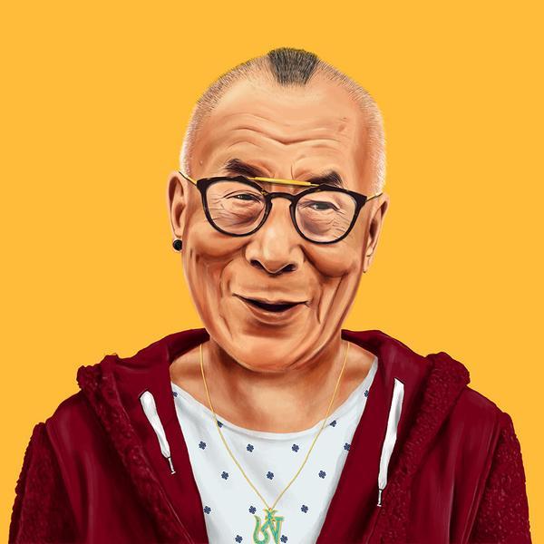 Hipstory, мировые лидеры в иллюстрациях, Амит Шимони, Amit Shimoni, Далай-лама