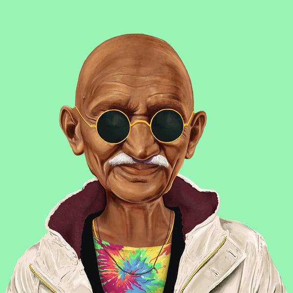 Hipstory, мировые лидеры в иллюстрациях, Амит Шимони, Amit Shimoni, Махатма Ганди
