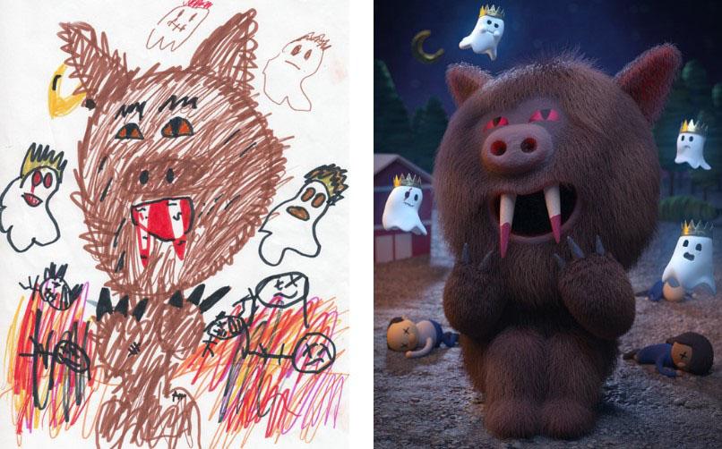 проект монстр, The Monster Project, художники воссоздают детские рисунки