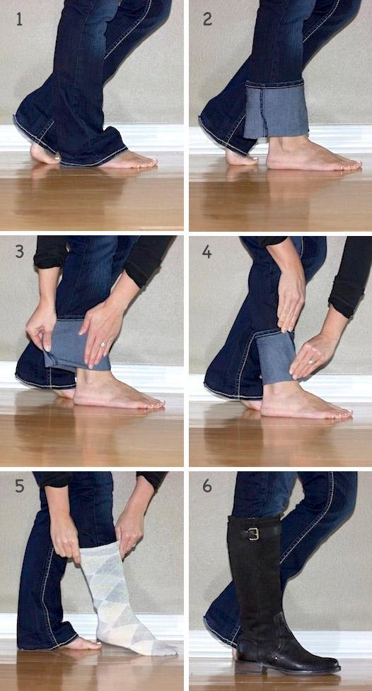 Как правильно заправить широкие джинсы в сапоги