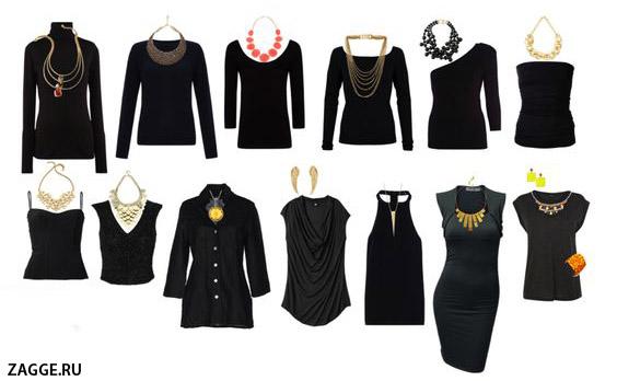 Сочетания украшений с вырезом на одежде