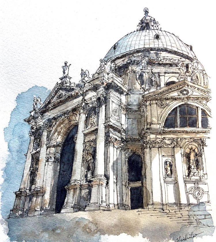 Живописные скетчи, акварельные краски, акварельная архитектура, horiaki2