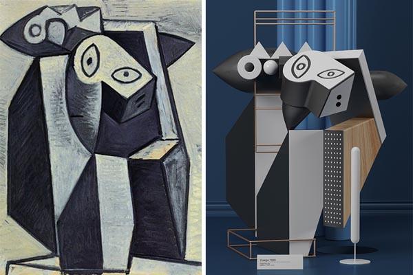 Воссоздание картин Пабло Пикассо в виде цифровых скульптур