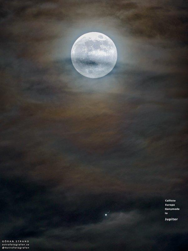 Луна, Юпитер и его крупнейшие спутники в одном кадре, Горан Странд, Göran Strand