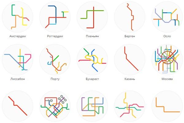 Минималистичные карты мирового метрополитена от Питера Довака