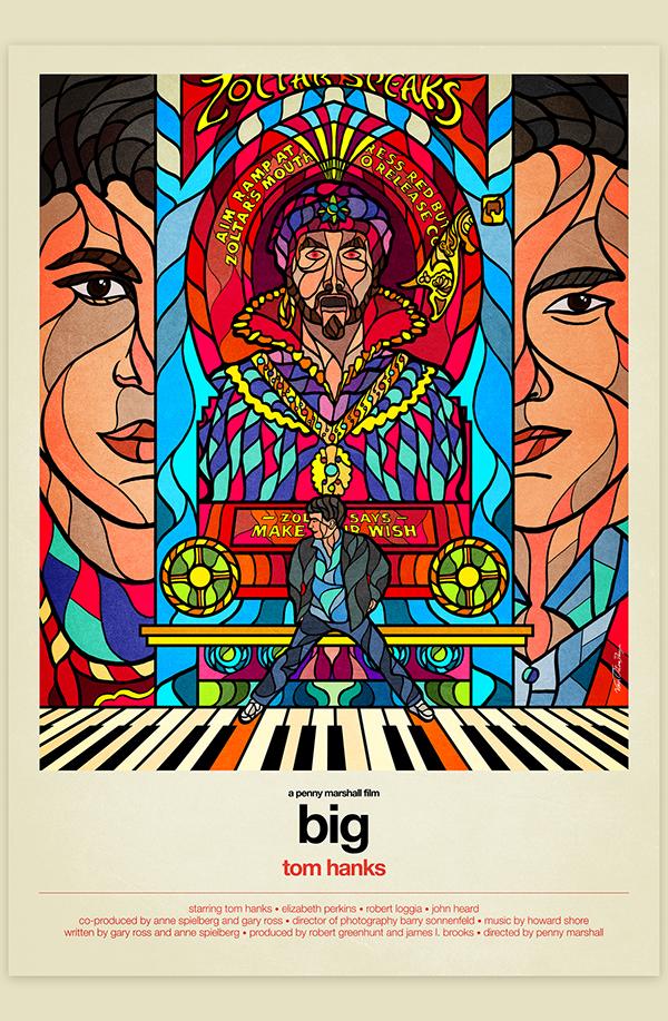 витражные постеры к культовым фильмам, кинопостеры, Van Orton Design