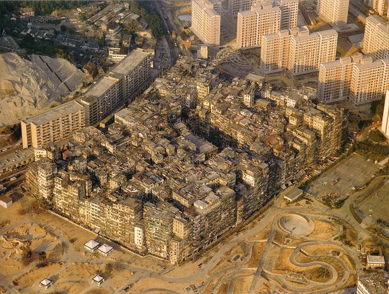 аэрофотоснимок, город-крепость, Коулун, 1989 год, Kowloon Walled City