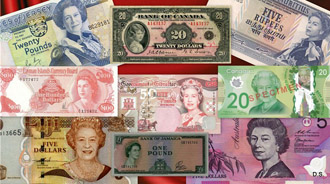 Елизавета II на деньгах