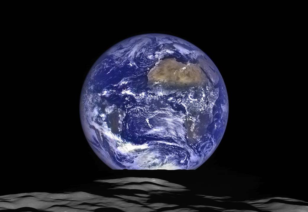 Вид на Землю с Луны. Изображение NASA