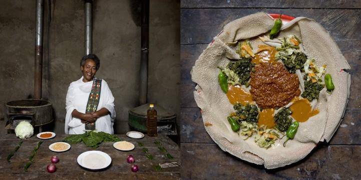 Ынджера (традиционный эфиопский хлеб) с карри и овощами