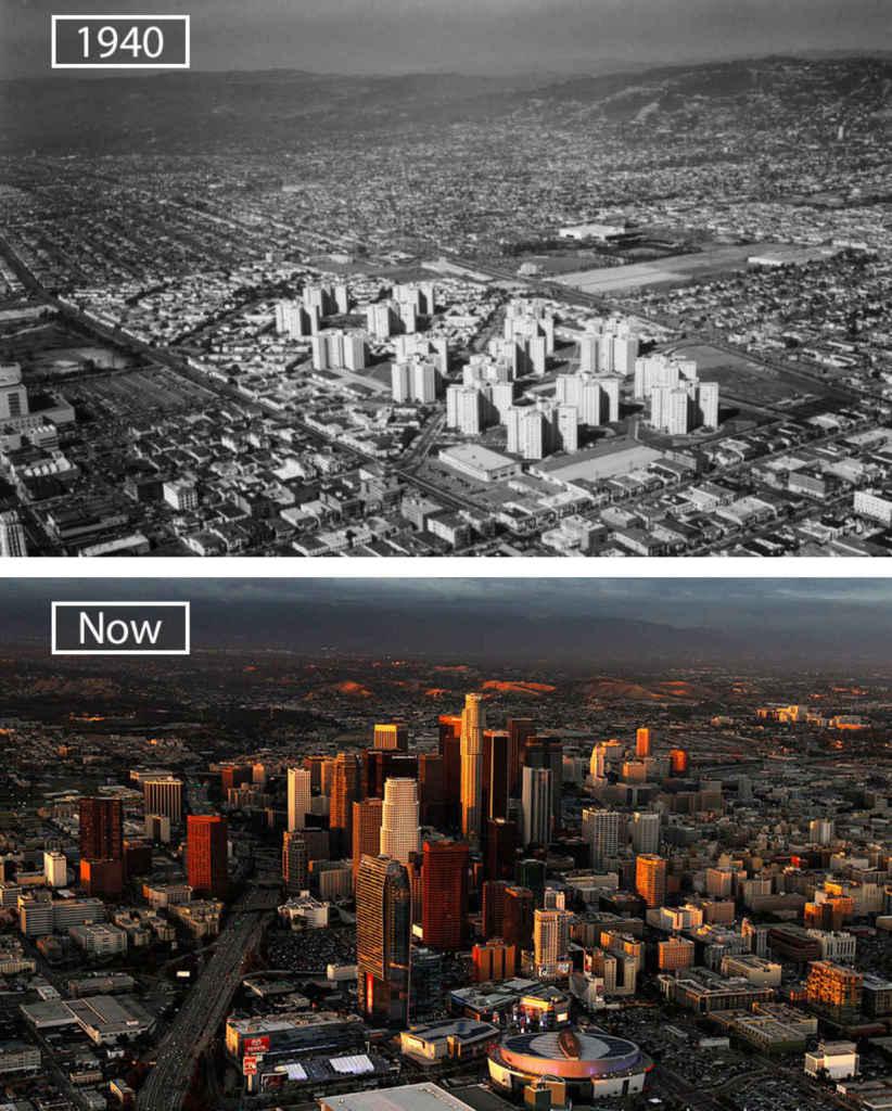 Лос-Анджелес, США тогда и сейчас