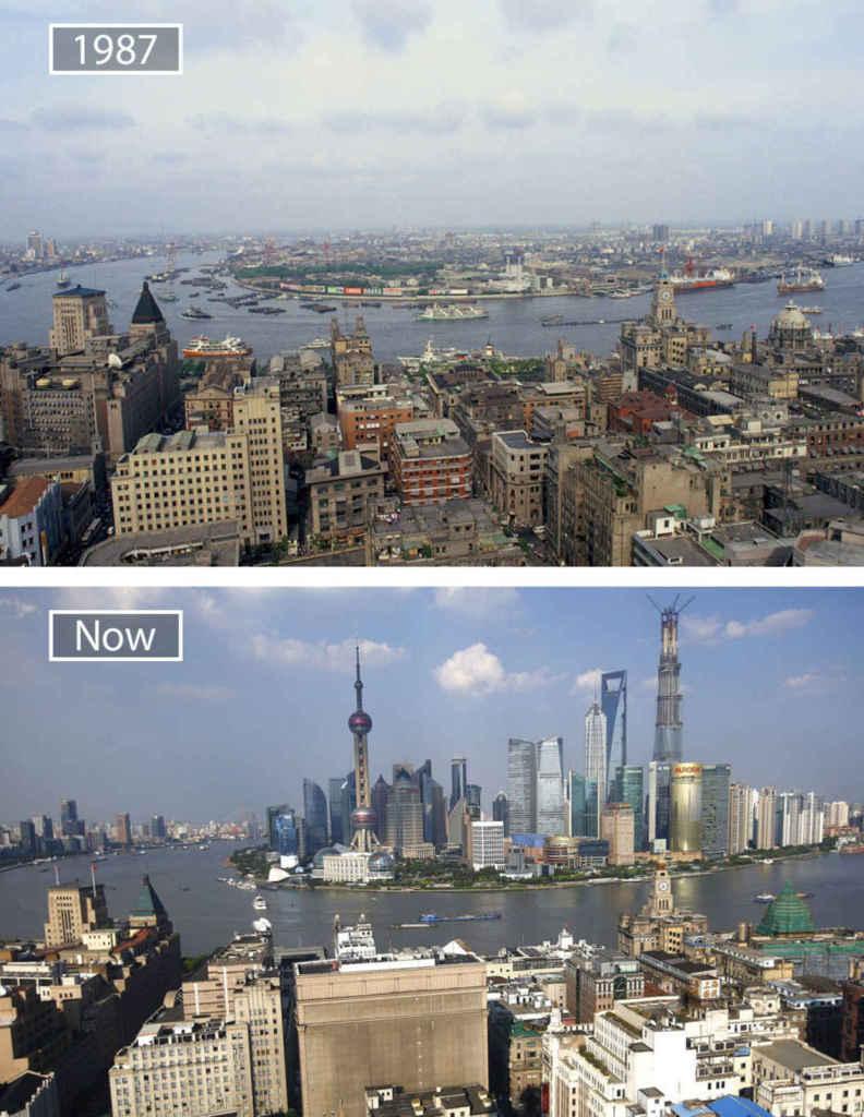 Шанхай, Китай, тогда и сейчас