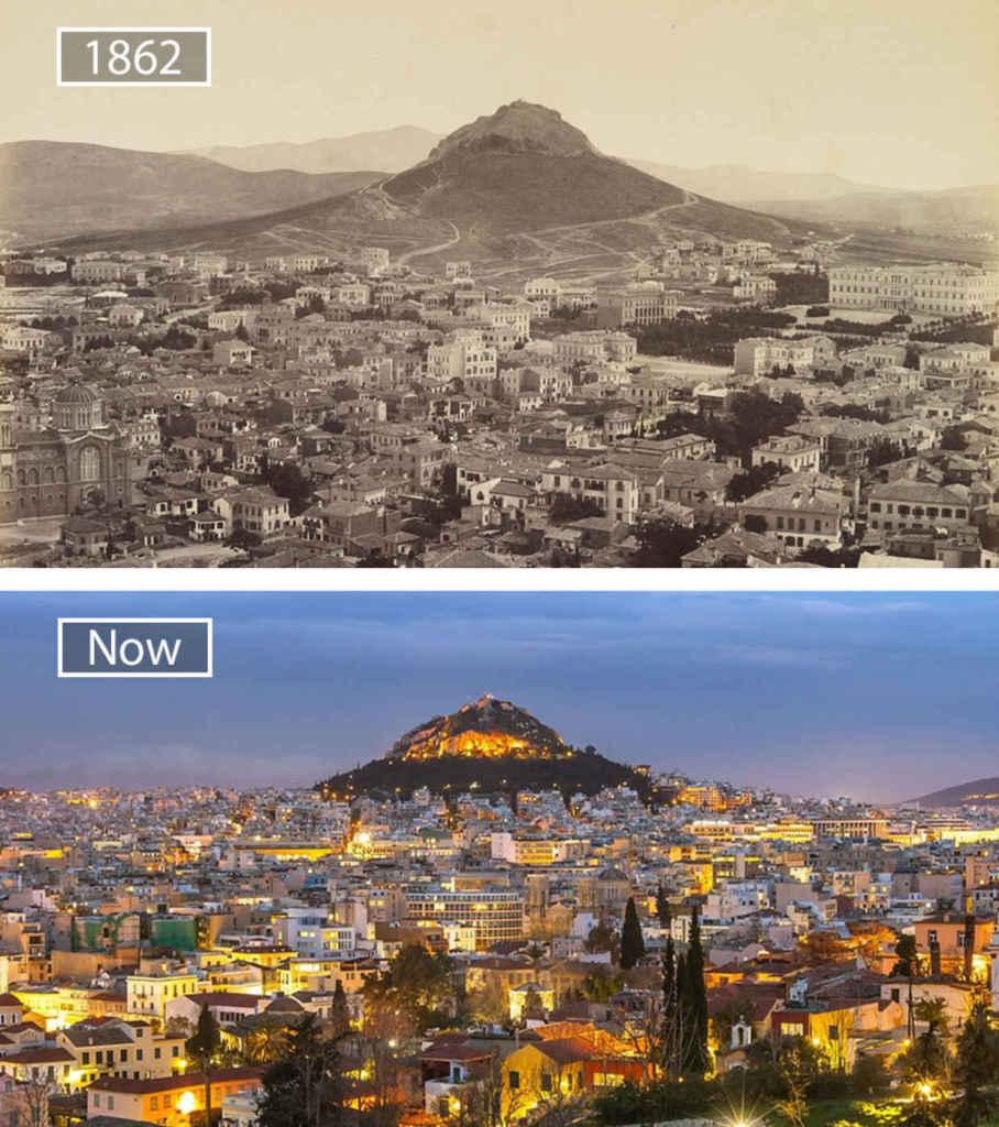 Афины, Греция, тогда и сейчас