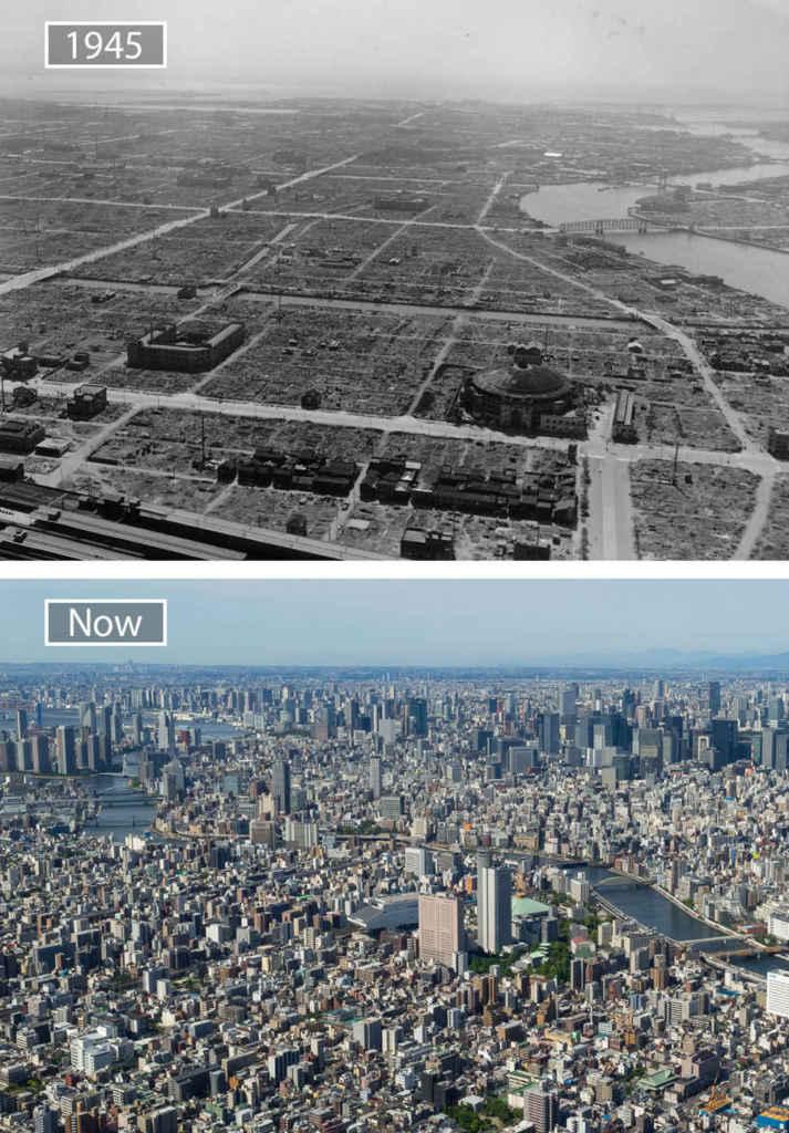 Токио, Япония, тогда и сейчас