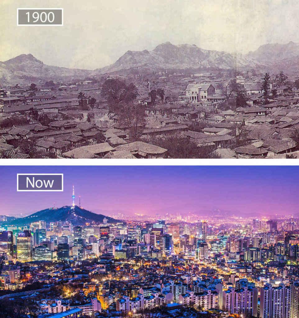 Сеул, Южная Корея, тогда и сейчас