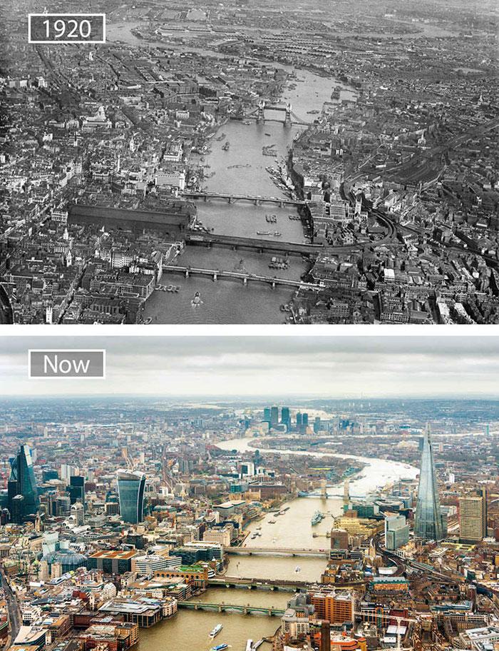 Лондон, Великобритания, тогда и сейчас