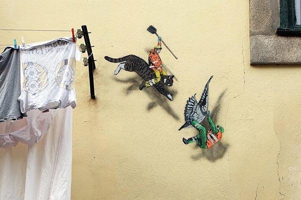 Забавный стрит-арт на улицах Брюсселя от Джонатана Пауэлса