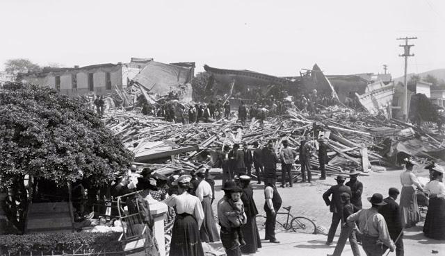 Оценка ущерба после землетрясения в Санта-Розе, США, 1906 год