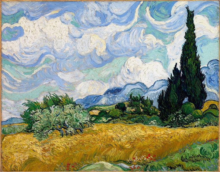 «Пшеничное поле с кипарисами», 1889 год