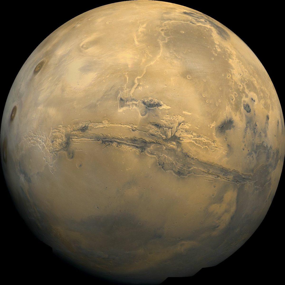 Композитное изображение Марса, которое состоит из 102 снимков, снятых космическим аппаратом «Викинг-1»