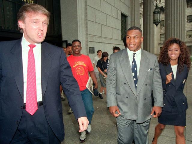 Дональд Трамп, Майк Тайсон и его жена Робин Гивенс, Нью-Йорк, 1988 год