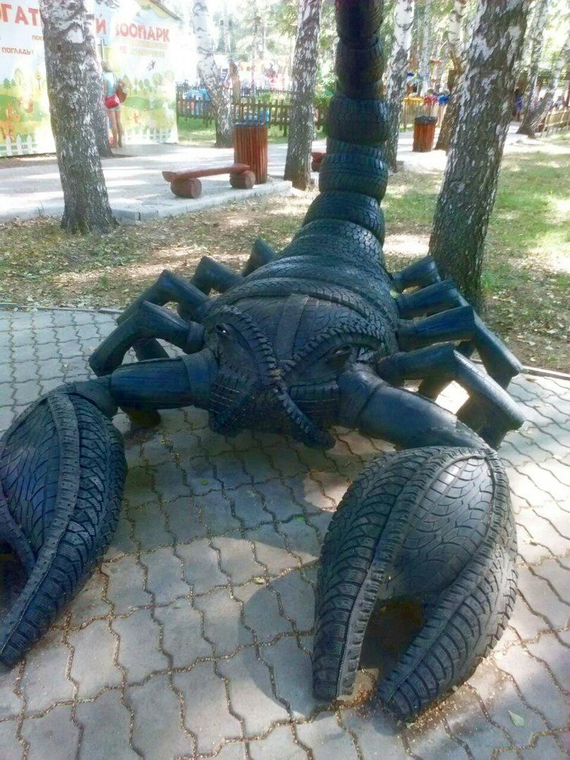 Креативные скульптуры из утилизированных шин от Александра Замесина