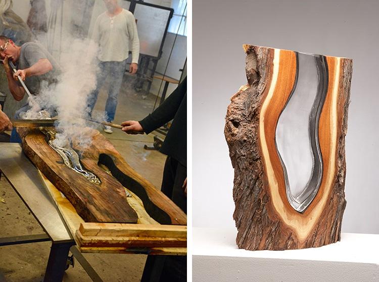Wood & Glass: оригинальные вазы из стекла и древесины