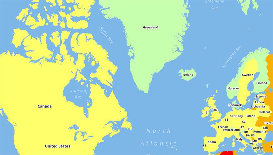 Карта уровней опасности в различных странах