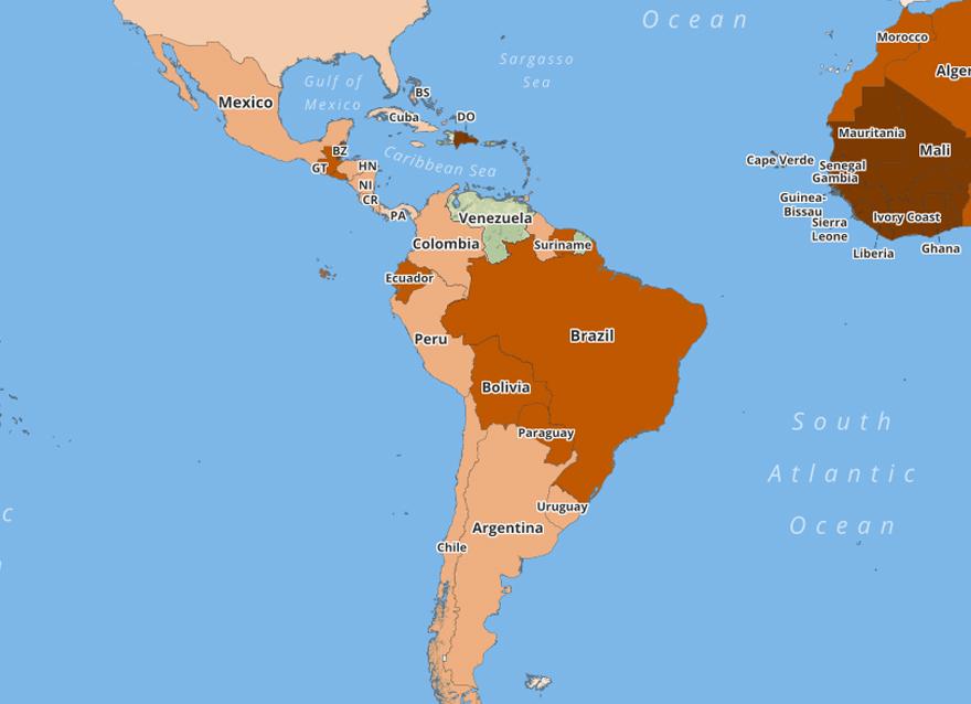 Число ДТП в различных странах