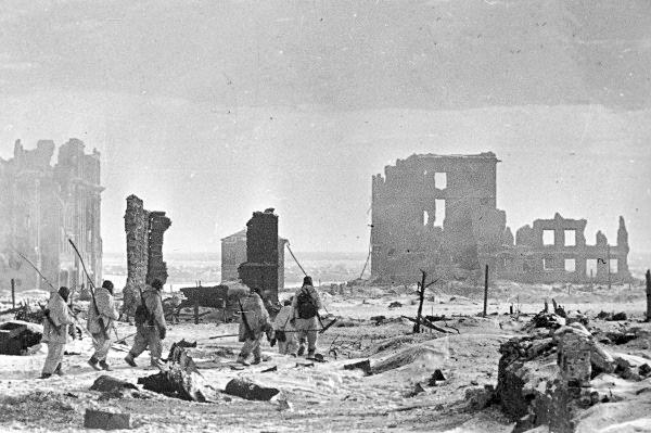 Центр города Сталинграда после бомбардировок