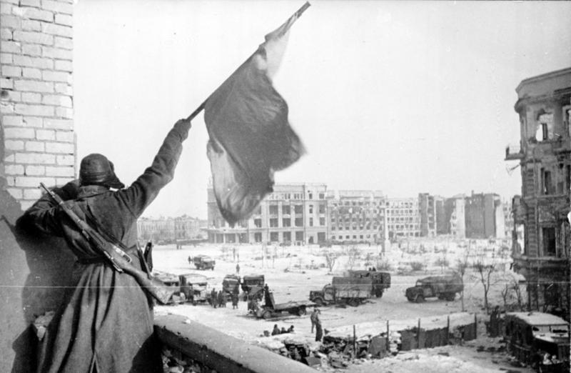 Флаг над освобождённым городом