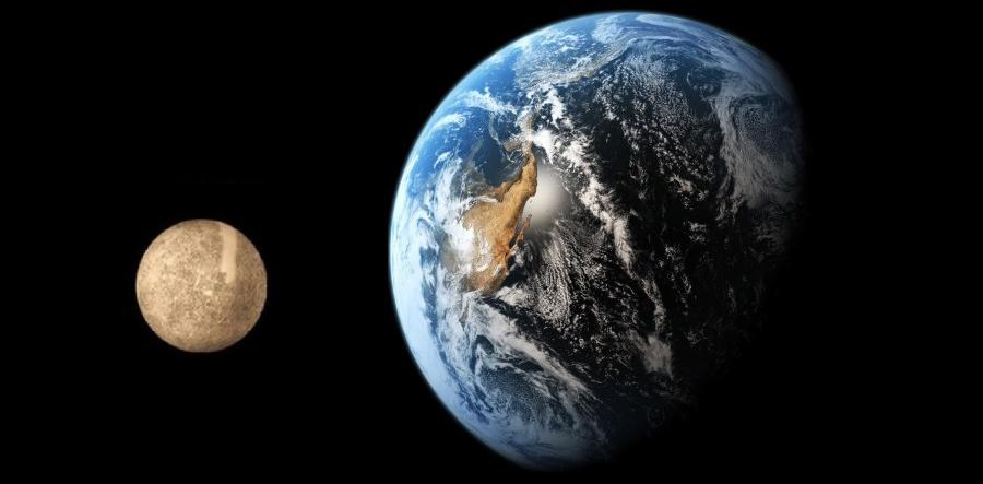 Меркурий в сравнении с Землей