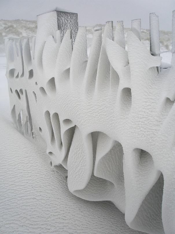 Забор после ночного снегопада в Нидерландах