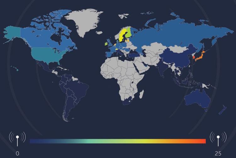 Карта скорости интернета по странам