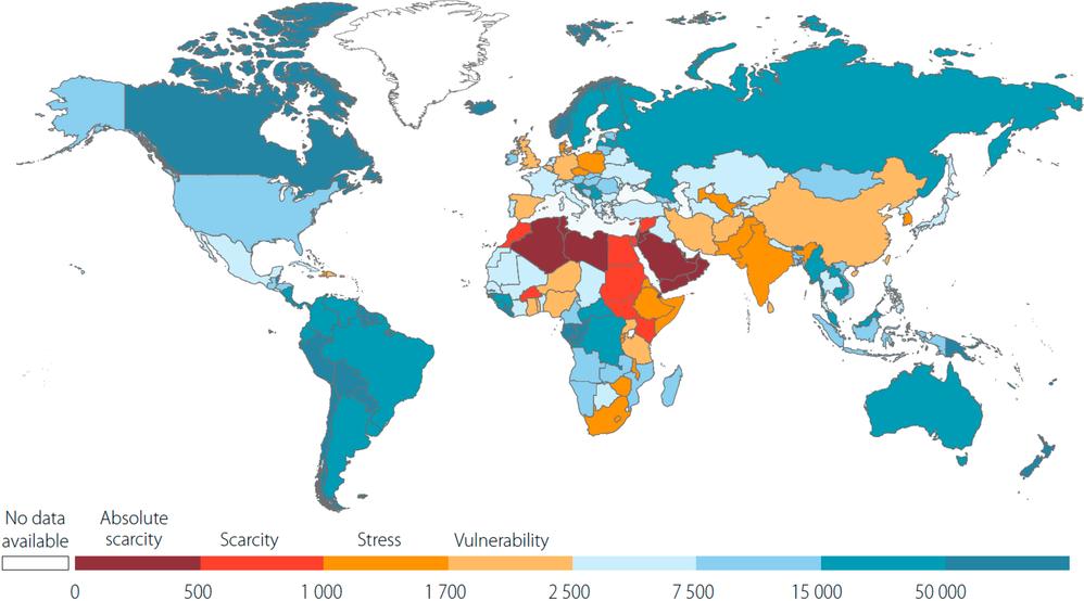 Обеспеченность ресурсами пресной воды по странам мира