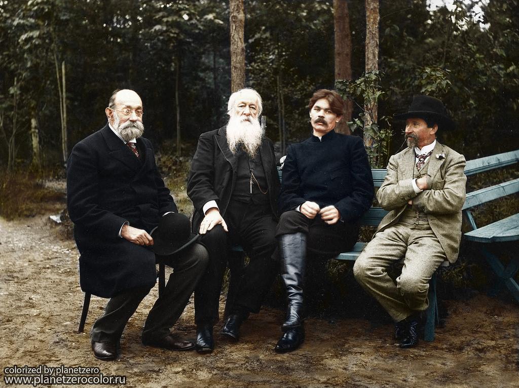Горький, Пирогов, Репин и Стасов, 1905 год