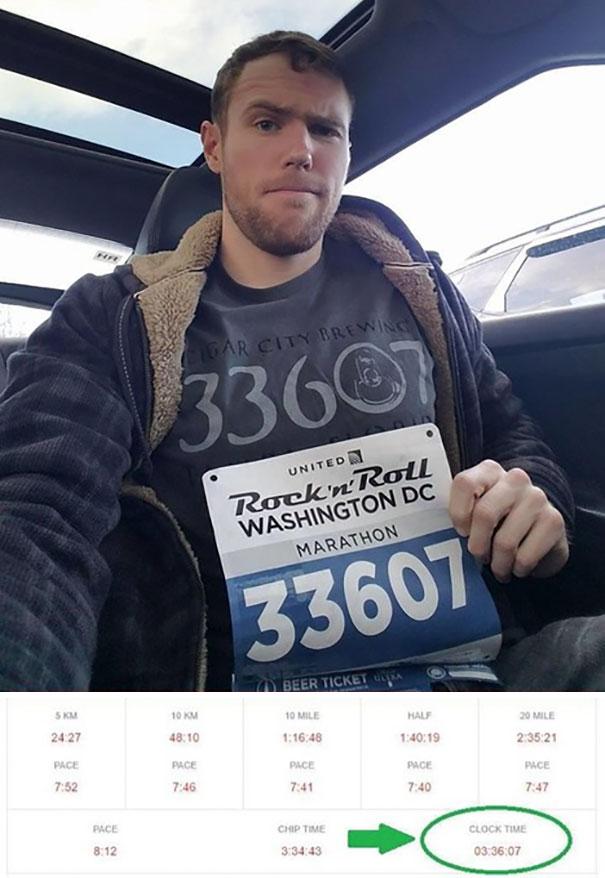 Почтовый индекс, изображение на футболке, номер на марафоне, итоговое время - везде 33607
