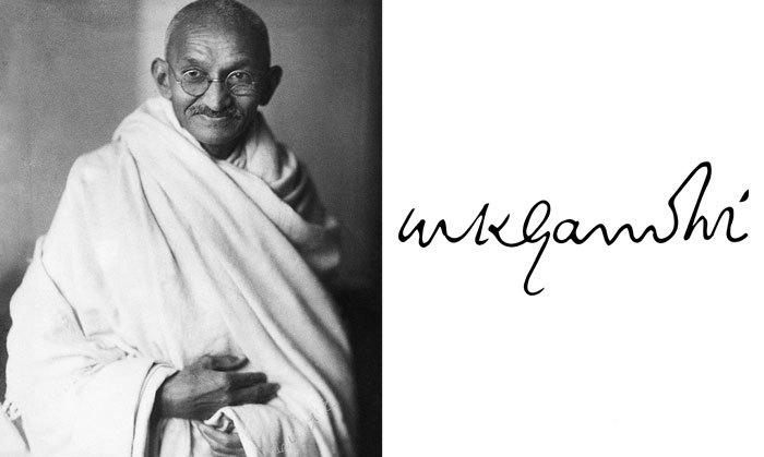 Махатма Ганди и его подпись