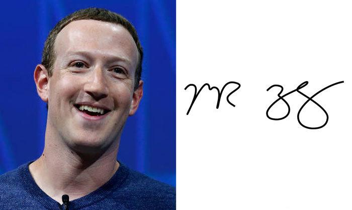 Марк Цукерберг и его подпись